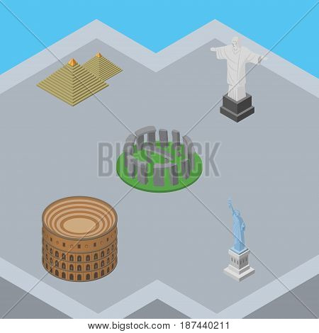 Isometric Attraction Set Of Rio, New York, Egypt And Other Vector Objects. Also Includes Pyramids, Colosseum, Rome Elements.