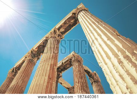 Close up of an Ancient Greece temple