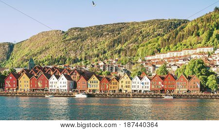 Day time view of Bergen in Norway