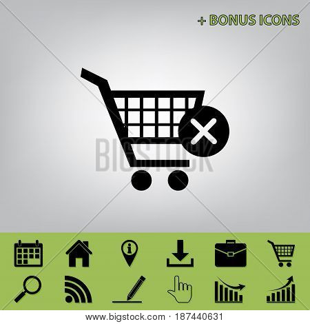 Shopping Cart with delete sign. Vector. Black icon at gray background with bonus icons at celery ones