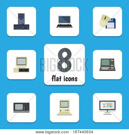 Flat Computer Set Of Vintage Hardware, Technology, Computer Mouse And Other Vector Objects. Also Includes Computing, Notebook, Computer Elements.