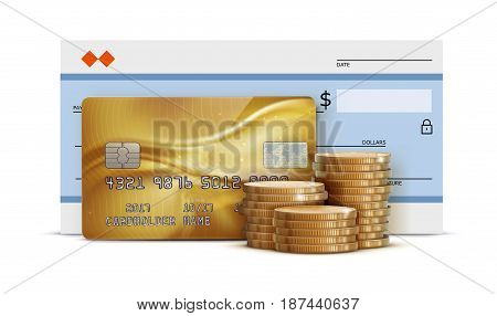Vector illustration of business concept with bank check detailed glossy gold credit card and stacks of golden coins