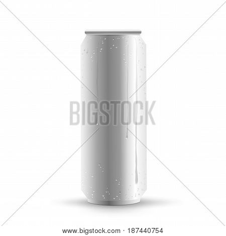 Big can of drink template with shadow on white background. Metal bottle show concept with water condensate