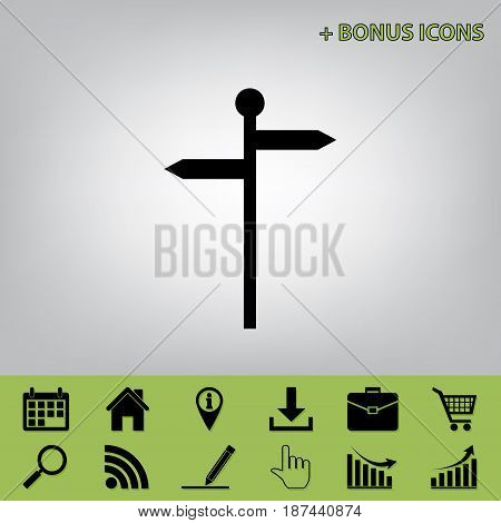 Direction road sign. Vector. Black icon at gray background with bonus icons at celery ones