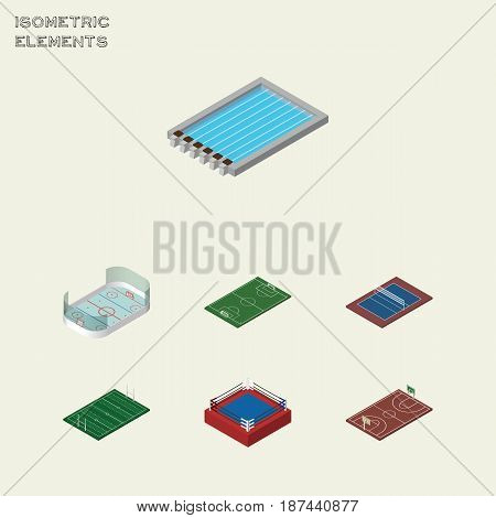 Isometric Training Set Of Tennis, Fighting, B-Ball And Other Vector Objects. Also Includes Swimming, Fighting, Pool Elements.