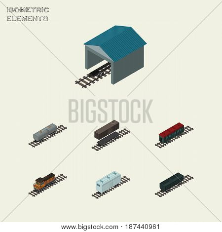 Isometric Railway Set Of Delivery Tank, Oil Wagon, Train And Other Vector Objects. Also Includes Metal, Oil, Petroleum Elements.