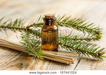 spa and aromatherapy with organic spruce oils in glass bottles on wooden table background