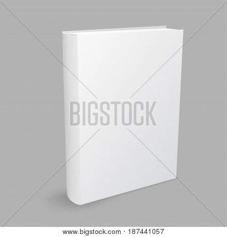 Standing closed white paper book with shadow on gray background. Education literature symbol. Empty cover template. Author writer show product
