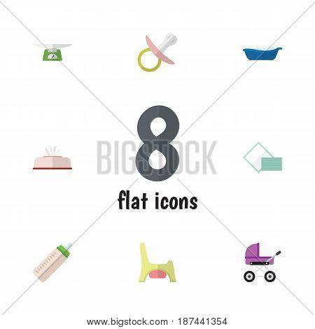Flat Child Set Of Napkin, Children Scales, Feeder And Other Vector Objects. Also Includes Pacifier, Toilet, Box Elements.