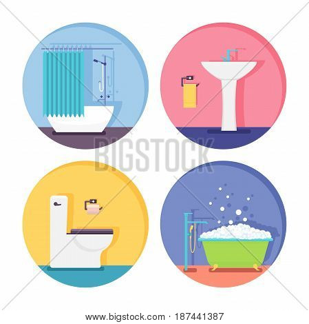 Bathroom icons. Modern vector illustration. Flat style: bath tub sink toilet restroom.