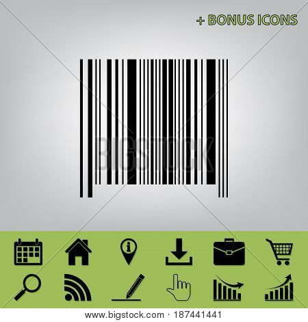 Bar code sign. Vector. Black icon at gray background with bonus icons at celery ones