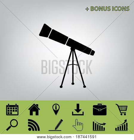 Telescope simple sign. Vector. Black icon at gray background with bonus icons at celery ones