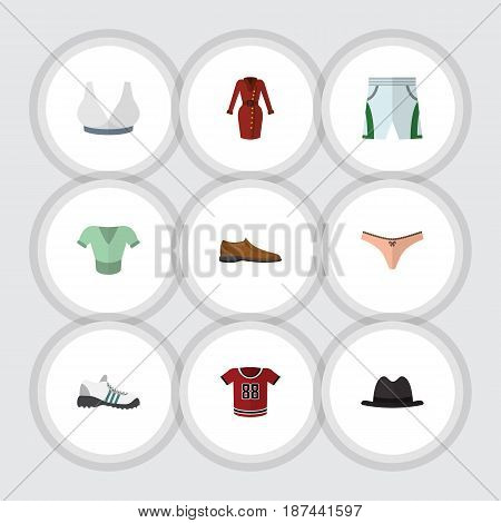 Flat Garment Set Of Panama, Casual, Sneakers And Other Vector Objects. Also Includes Hat, Man, Panties Elements.