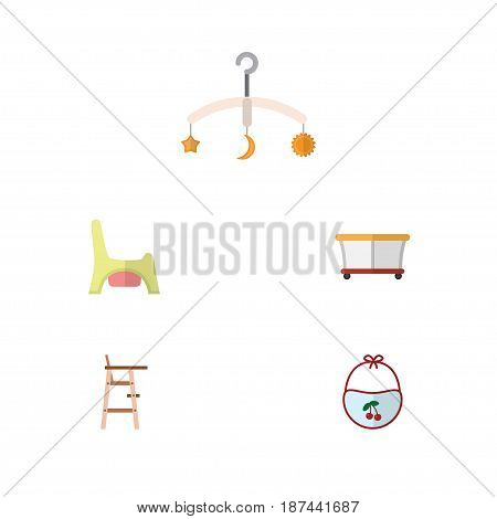 Flat Baby Set Of Playground, Mobile, Child Chair And Other Vector Objects. Also Includes Potty, Mobile, Stool Elements.