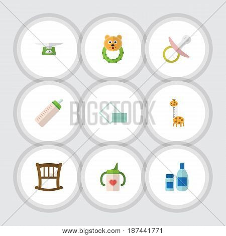 Flat Infant Set Of Rattle, Nipple, Napkin And Other Vector Objects. Also Includes Children, Bed, Bottle Elements.