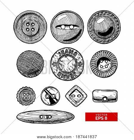 Vector black-and-white hand drawn illustration of clothes buttons set in vintage engraved style. Shank flat or sew through jeans button and others. isolated on white background.