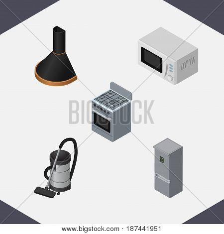 Isometric Device Set Of Air Extractor, Microwave, Stove And Other Vector Objects. Also Includes Kitchen, Fridge, Stove Elements.