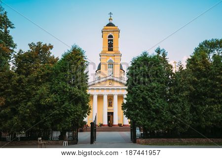 Gomel, Belarus. Bell Tower Of Peter And Paul Cathedral Under Sunny Summer Blue Sky In Gomel, Belarus.