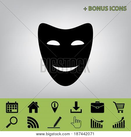 Comedy theatrical masks. Vector. Black icon at gray background with bonus icons at celery ones