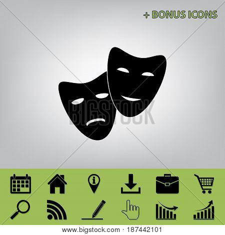 Theater icon with happy and sad masks. Vector. Black icon at gray background with bonus icons at celery ones