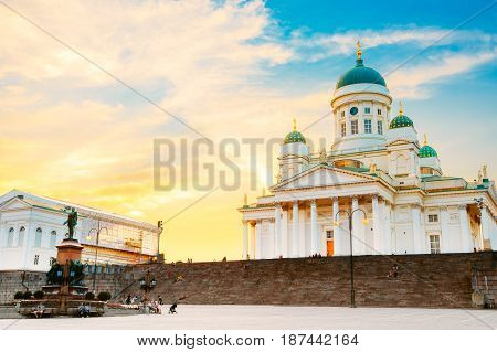 Helsinki, Finland. Famous Landmark In Finnish Capital - Senate Square With Lutheran Cathedral And Monument To Russian Emperor Alexander II At Summer Sunset Or Sunrise