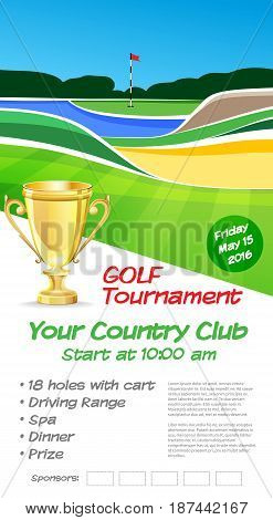 Golf tournament ticket or flyer brochure template. Golf course background mockup vector illustration