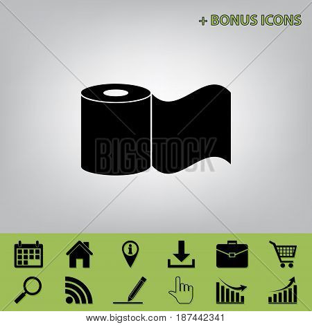 Toilet Paper sign. Vector. Black icon at gray background with bonus icons at celery ones