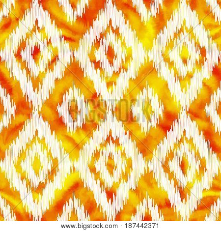 Orange stitched rhombus ornament on watercolor background, vector seamless pattern