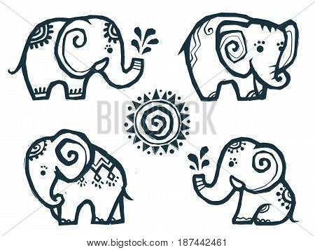 Cute little doodle elephants in Indian style isolated on white background