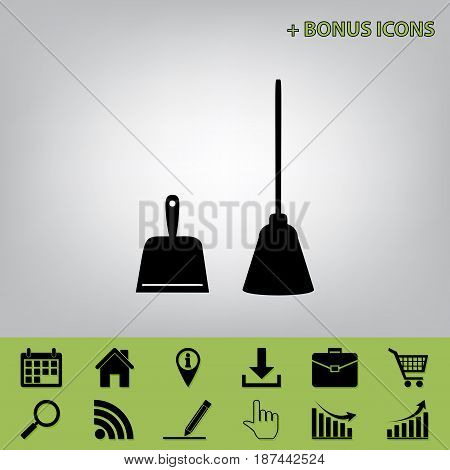 Dustpan vector sign. Scoop for cleaning garbage housework dustpan equipment. Vector. Black icon at gray background with bonus icons at celery ones