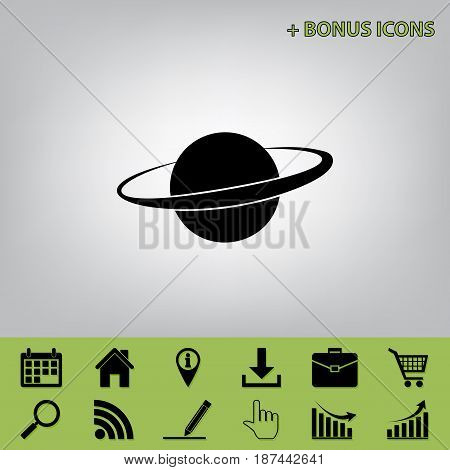 Planet in space sign. Vector. Black icon at gray background with bonus icons at celery ones