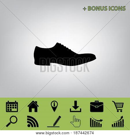 Men Shoes sign. Vector. Black icon at gray background with bonus icons at celery ones