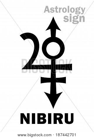Astrology Alphabet: NIBIRU, Orphan planet, Rogue planet of Anunnaki. Hieroglyphics character sign (original single symbol).