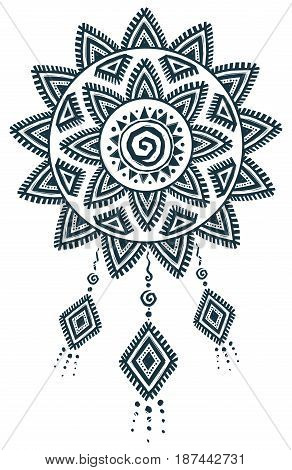 Ethnic style vector hand drawn dream catcher mandala isolated on white background