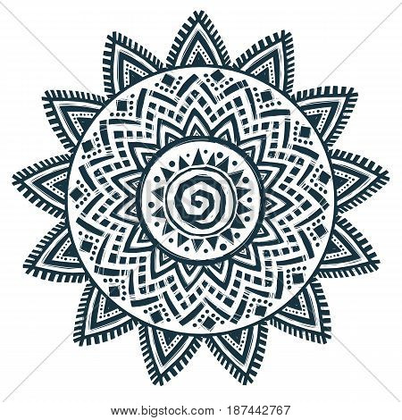 Ethnic style sun vector hand drawn dream catcher mandala isolated on white background