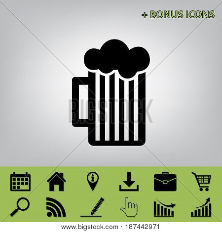 Glass of beer sign. Vector. Black icon at gray background with bonus icons at celery ones