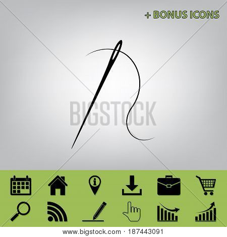 Needle with thread. Sewing needle, needle for sewing. Vector. Black icon at gray background with bonus icons at celery ones