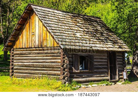 Old Wooden Log Cabin Used For Mine Workers