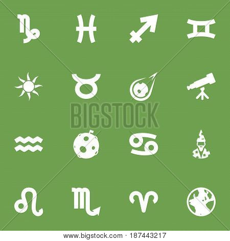 Set Of 16 Astronomy Icons Set.Collection Of Binoculars, Bull, Lunar And Other Elements.