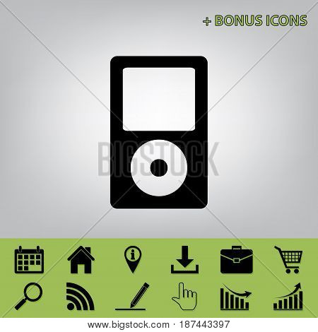 Portable music device. Vector. Black icon at gray background with bonus icons at celery ones