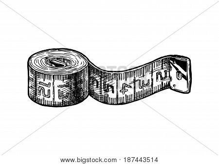 Vector black-and-white hand drawn illustration of tape measure in vintage engraved style. isolated on white background.