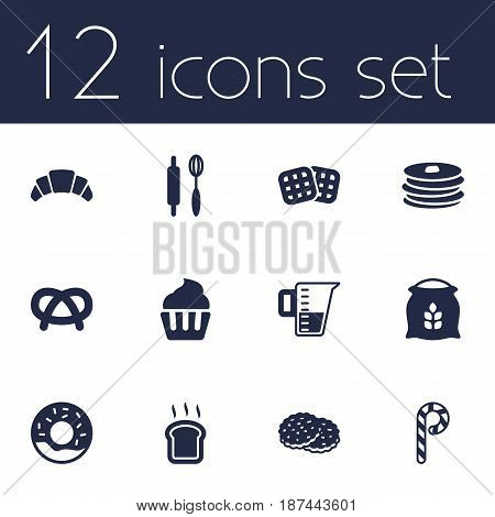 Set Of 12 Oven Icons Set.Collection Of Doughnut, Wafer, Shortcake And Other Elements.