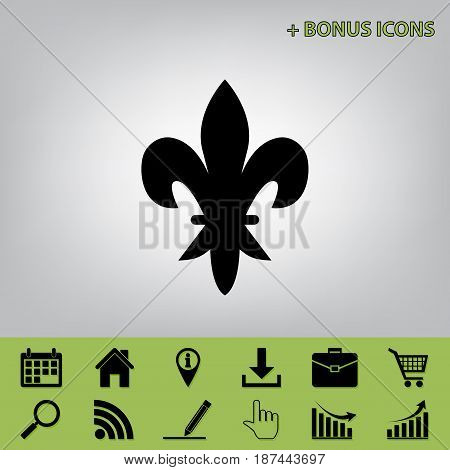 Elements for design. Vector. Black icon at gray background with bonus icons at celery ones