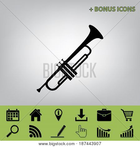 Musical instrument Trumpet sign. Vector. Black icon at gray background with bonus icons at celery ones