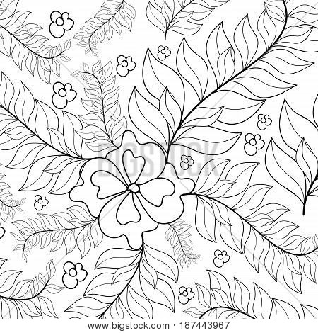 Hand drawn zentangle sunflowers ornament for adult anti stress. Coloring book page with high details isolated on white background. Floral seamless pattern.