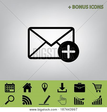 Mail sign illustration with add mark. Vector. Black icon at gray background with bonus icons at celery ones