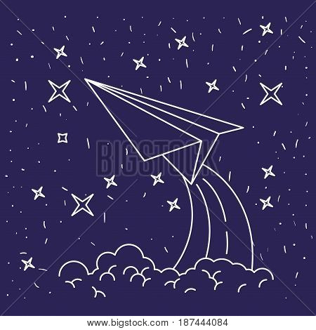 dark blue background with hand drawn paper plane in starry sky vector illustration