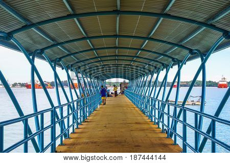Labuan,Malaysia-Feb 19,2017:Papan island jetty in Labuan island,Malaysia.It is one of the most beautifully developed islands that is located in Labuan,Malaysia.