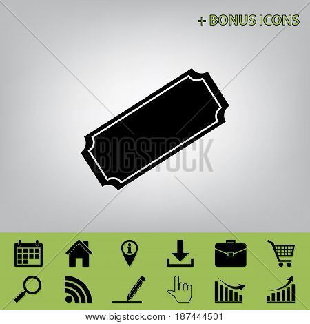 Ticket sign illustration. Vector. Black icon at gray background with bonus icons at celery ones