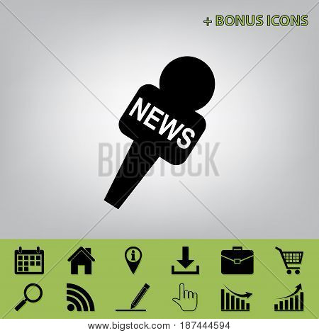 TV news microphone sign illustration. Vector. Black icon at gray background with bonus icons at celery ones
